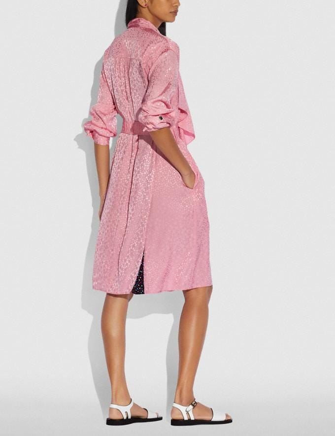 Coach Abstract Jacquard Drape Belted Dress Pink  Alternate View 2