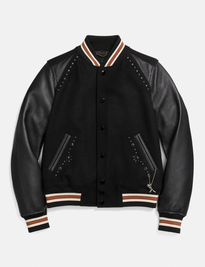 Coach Embellished Varsity Jacket Black CYBER MONDAY SALE Women's Sale 50 Percent Off