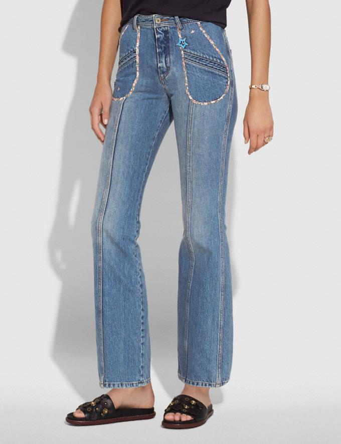 Coach Patchwork Denim Pants Blue VIP SALE Women's Sale Ready-to-Wear