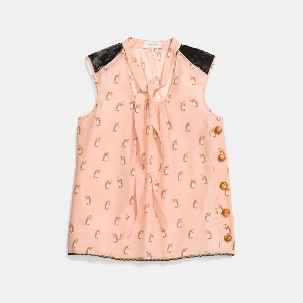 penguin print tie neck blouse