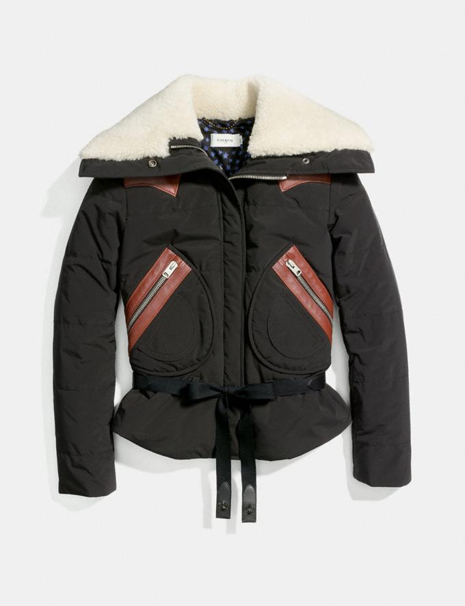 Coach Puffer Jacket With Shearling Black