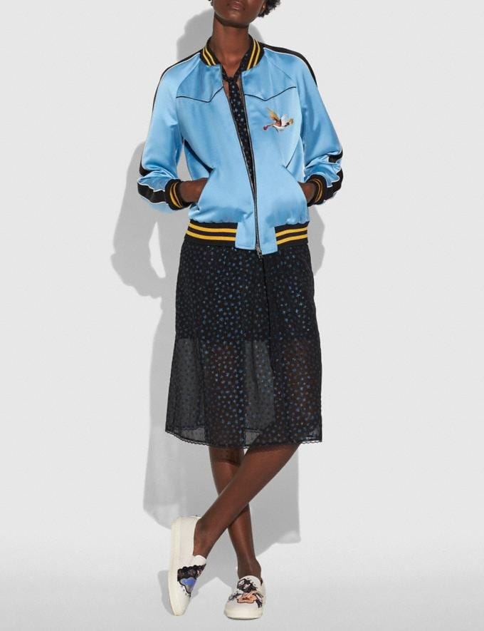 Coach Reversible California Varsity Puffer Blue/Black Multi Women Ready-to-Wear Coats & Jackets