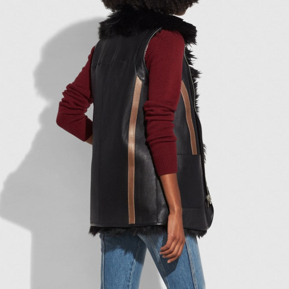 Coach Reversible Shearling Vest Alternate View 4