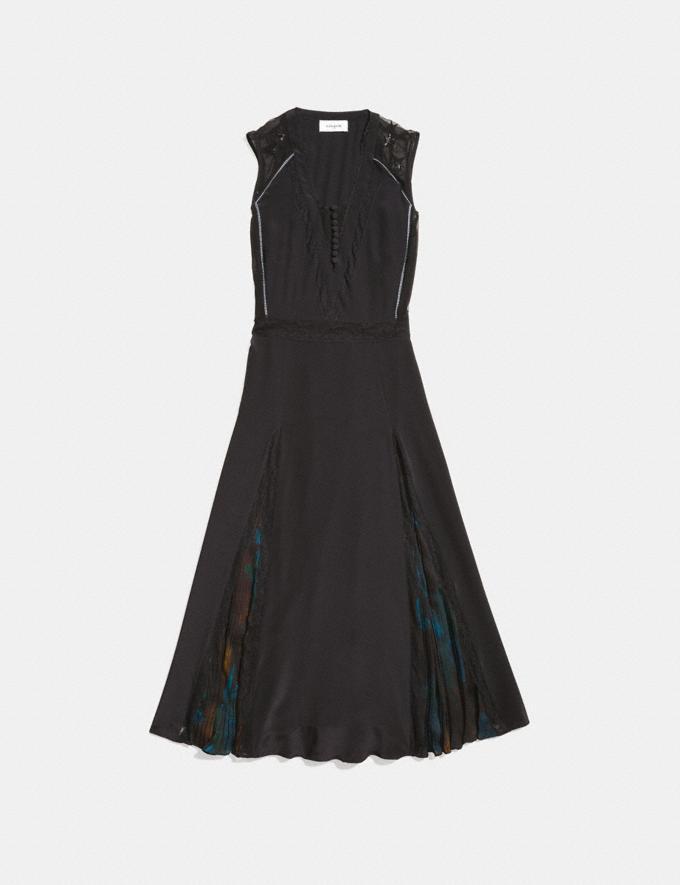 Coach Sleeveless Pleated Dress Black