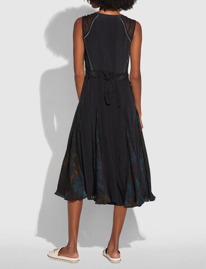 Coach Sleeveless Pleated Dress Black  Alternate View 2