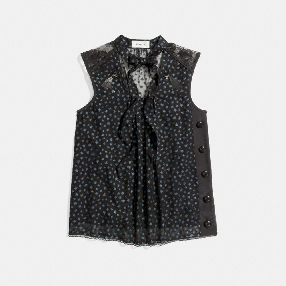 Coach Star Print Sleeveless Tie Neck Blouse