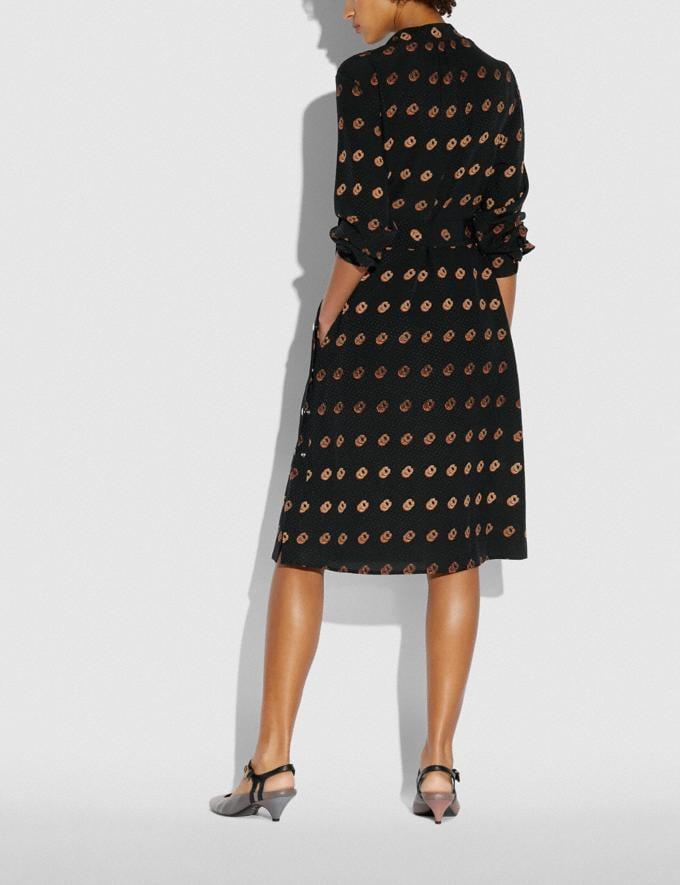 Coach Print Tie Neck Dress Black/Orange  Alternate View 2