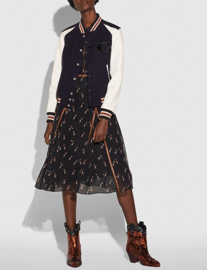 Coach Varsity Jacket Navy CYBER MONDAY SALE Women's Sale Ready-to-Wear