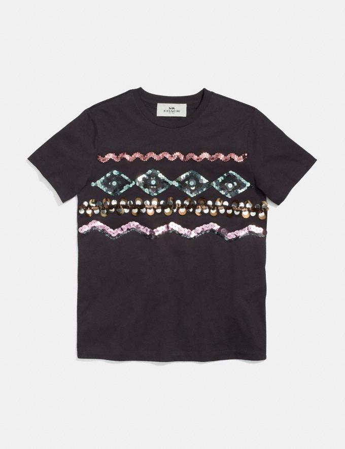 Coach Zigzag Embellished T-Shirt Black