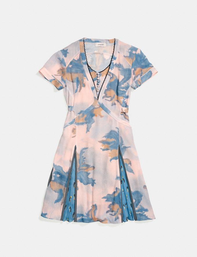 Coach Dreamy Floral Print Pleated Dress Blue Women Ready-to-Wear Dresses