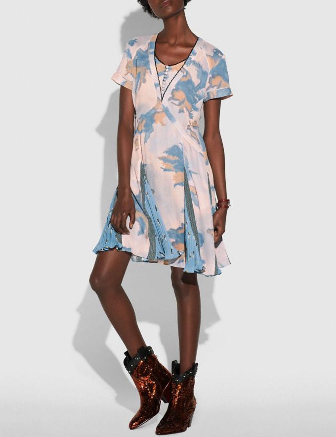 Coach Dreamy Floral Print Pleated Dress Blue Women Ready-to-Wear Dresses Alternate View 1