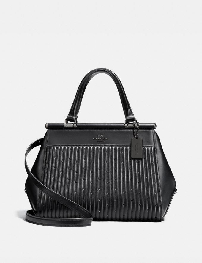 Coach Grace Bag With Quilting and Rivets Black/Dark Gunmetal New Featured Online Exclusives