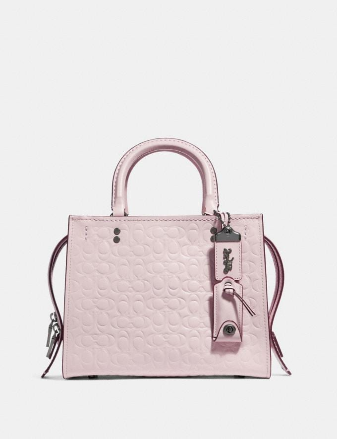 Coach Rogue 25 in Signature Leather With Floral Bow Print Interior Ice Pink/Black Copper Women Bags Shoulder Bags