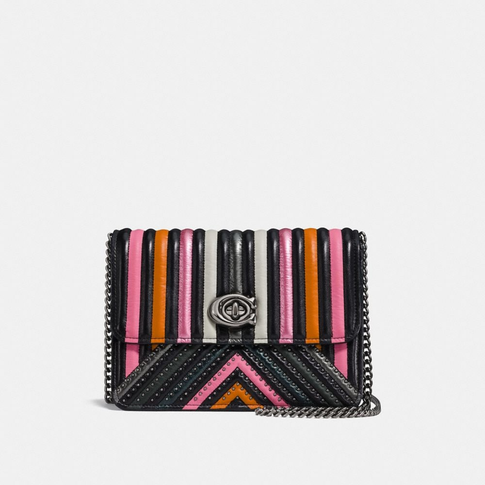 BOWERY CROSSBODY WITH COLORBLOCK QUILTING AND RIVETS