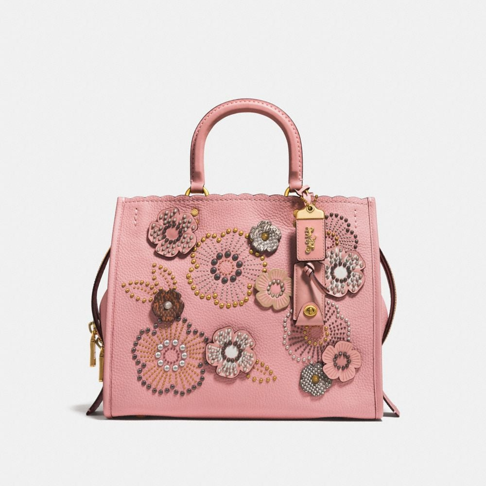 Coach Rogue With Snakeskin Tea Rose Rivets