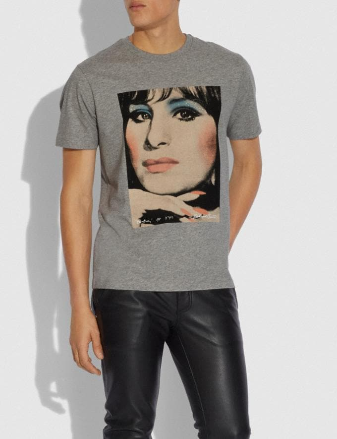 Coach Coach X Richard Bernstein T-Shirt With Barbra Streisand Light Heather Grey Men Ready-to-Wear Tops & Bottoms Alternate View 1