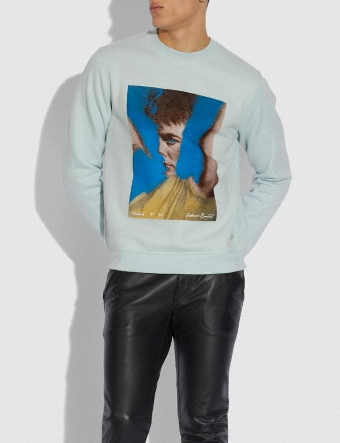 Coach Coach X Richard Bernstein Sweatshirt With Michael J. Fox Blue Men Ready-to-Wear Clothing Alternate View 1
