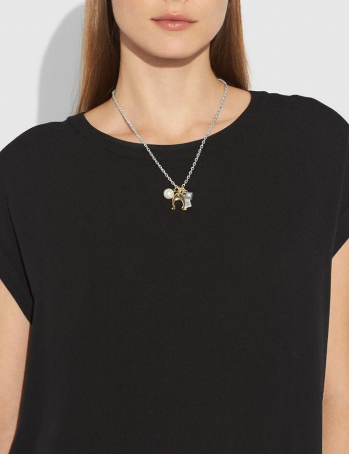 Coach Charm Necklace Silver/Gold  Alternate View 3
