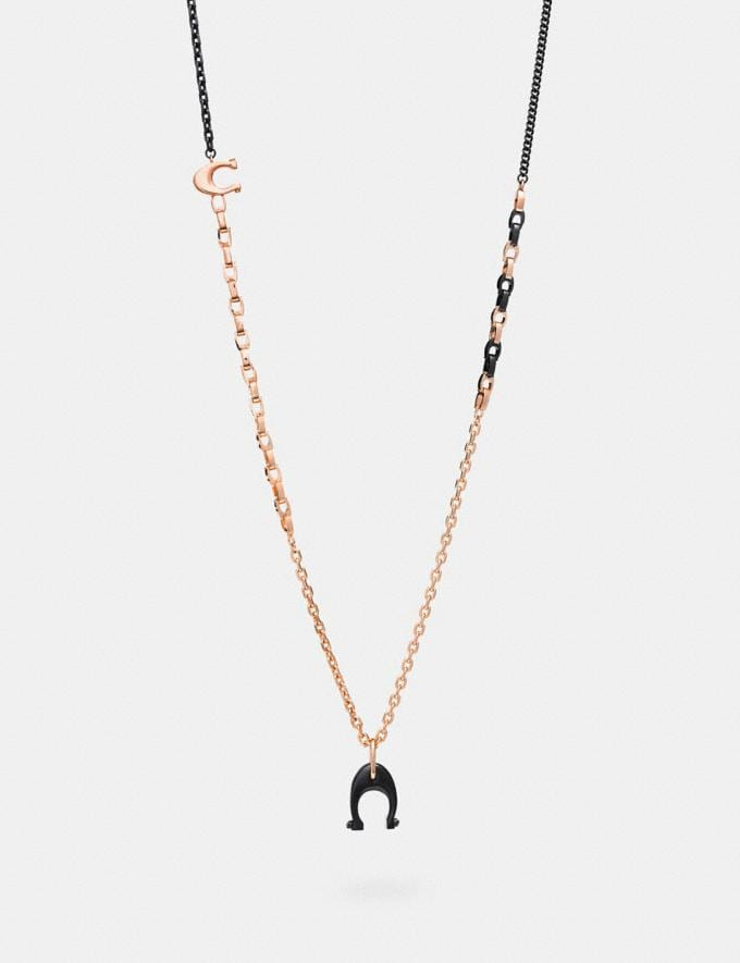 Coach Signature Charm Necklace Hematite/Rosegold Women Bags Signature Bags