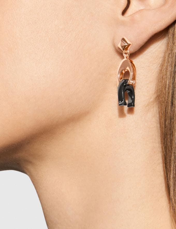 Coach Signature Earrings Hematite/Rosegold  Alternate View 1