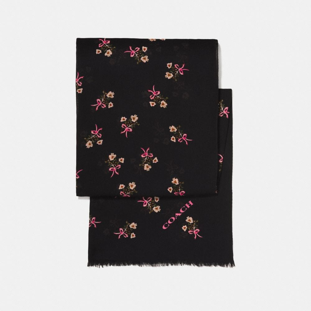 FLORAL BOW PRINTED SHAWL