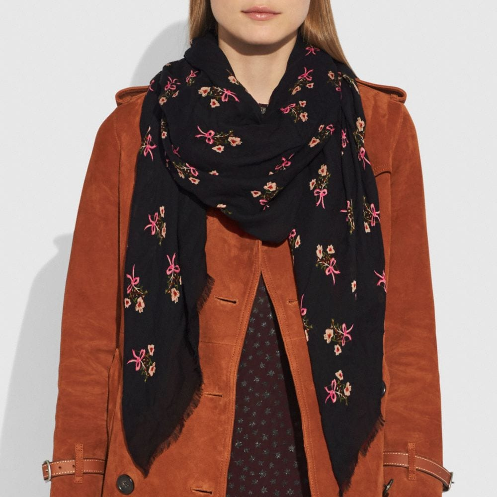 Coach Floral Bow Printed Shawl Alternate View 1