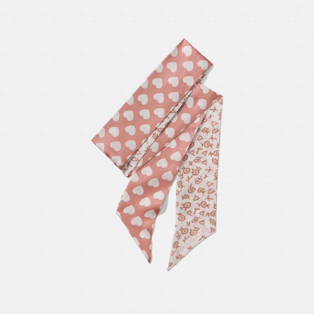 Coach Love Floral Heart Reversible Skinny Scarf