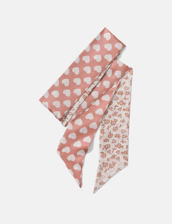 Coach Love Floral Heart Reversible Skinny Scarf Chalk Women Accessories Scarves