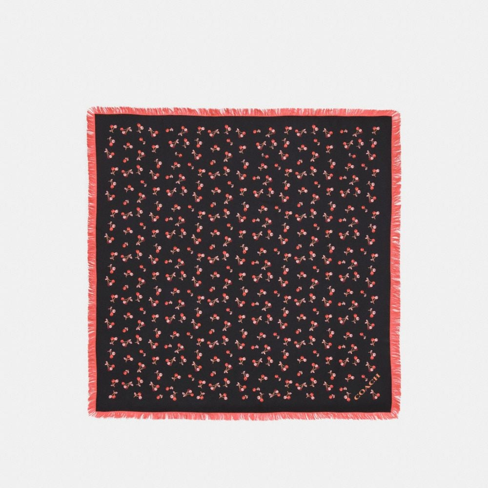 CHERRY SILK SQUARE WITH FRINGE
