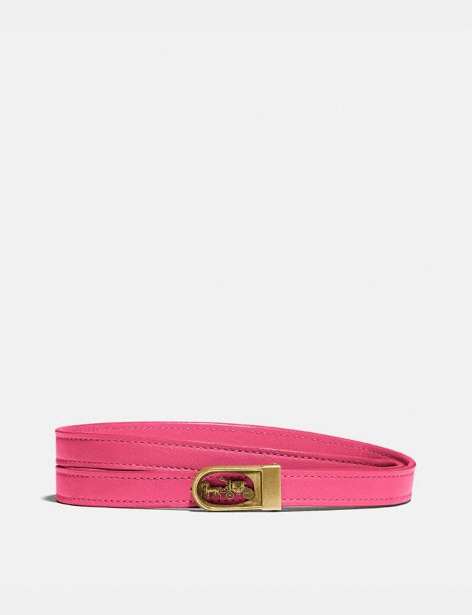 Coach Horse and Carriage Buckle Belt, 15mm Brass/Fuchsia New Women's New Arrivals Accessories
