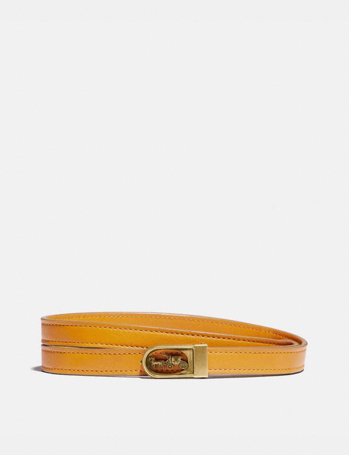 Coach Horse and Carriage Buckle Belt, 15mm Brass/Buttercup Women Accessories Belts
