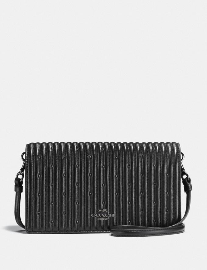 Coach Hayden Foldover Crossbody Clutch With Quilting and Rivets Black/Dark Gunmetal New Featured Online Exclusives