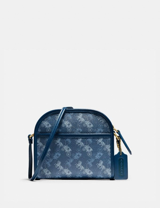 Coach Zip Crossbody With Horse and Carriage Print Ol/True Blue Men Bags Messenger Bags