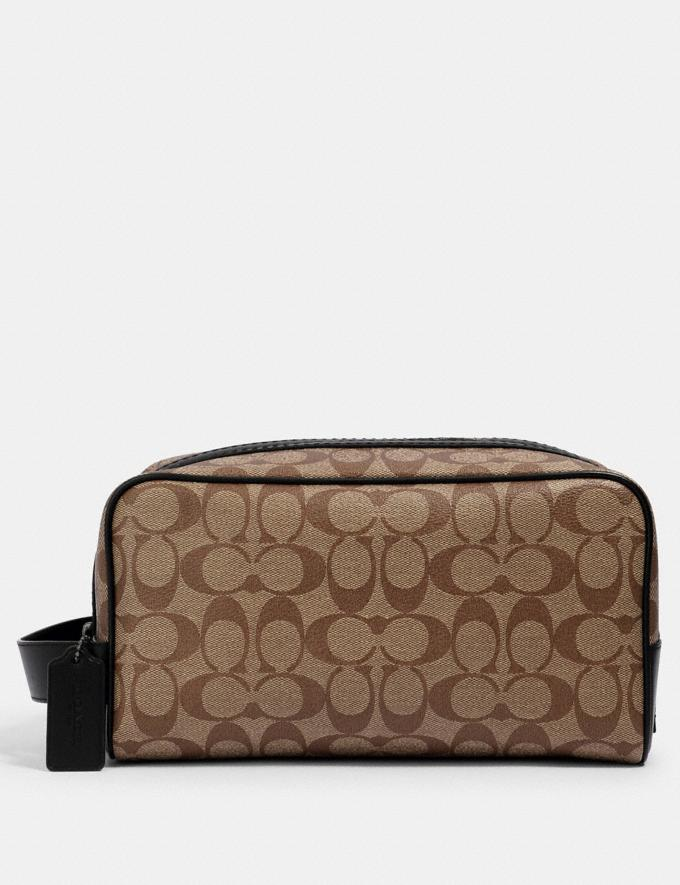Coach Large Travel Kit in Signature Canvas Qb/Tan Black