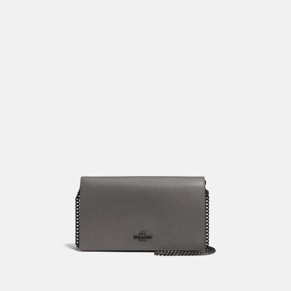 Coach Foldover Chain Clutch in Grain Leather
