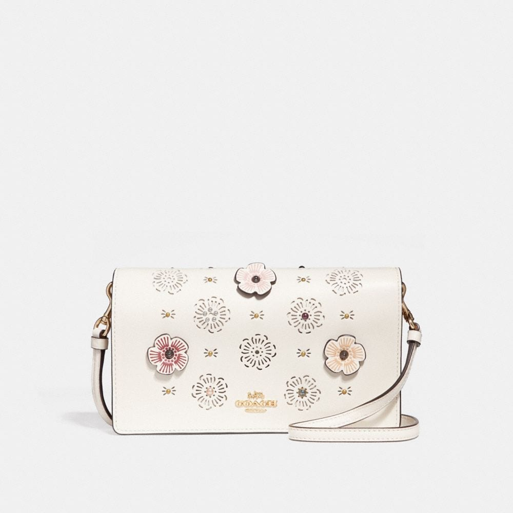 Coach Foldover Crossbody Clutch With Cut Out Tea Rose