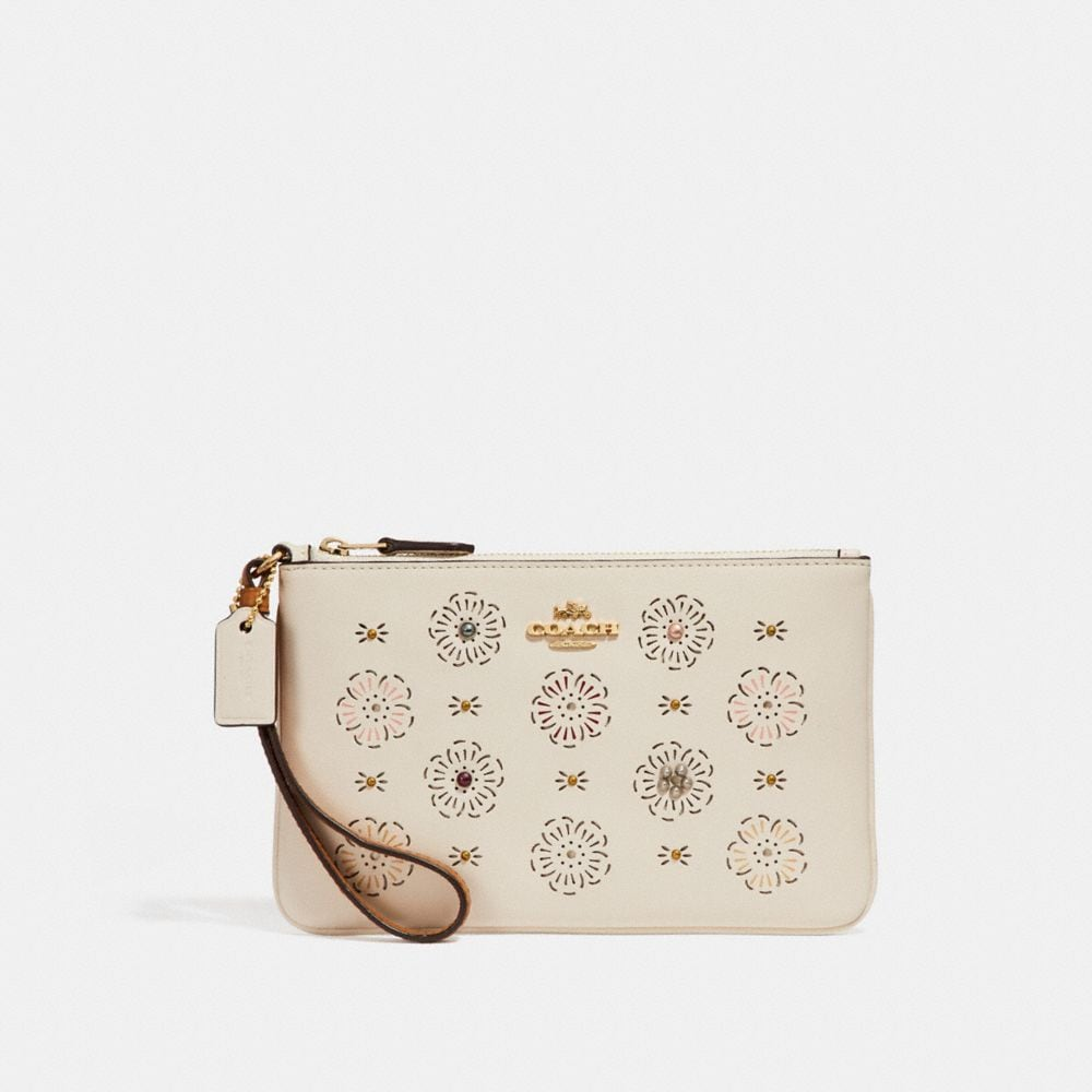 Coach Small Wristlet With Cut Out Tea Rose