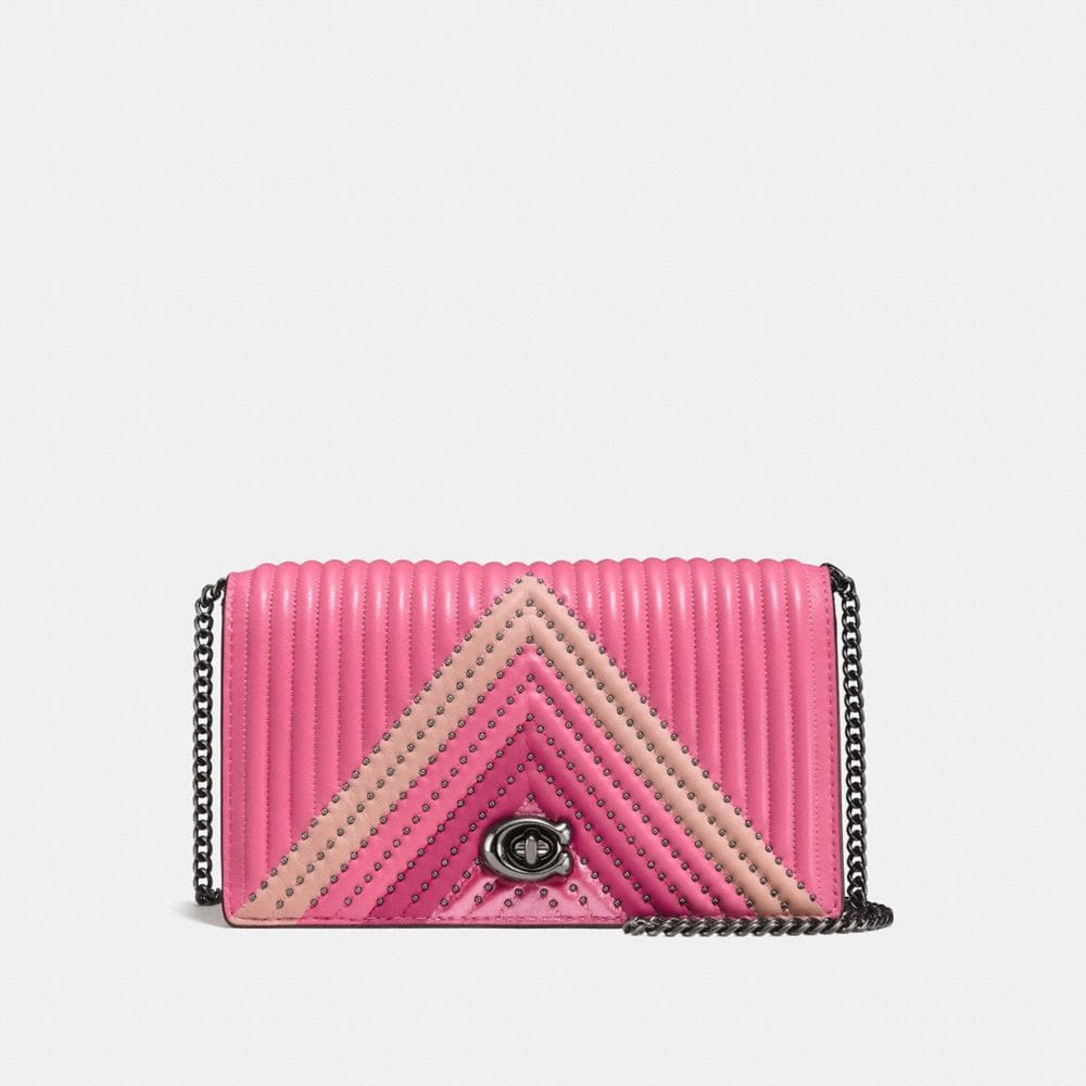 Foldover Chain Clutch With Colorblock Quilting And Rivets by Coach