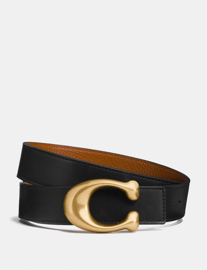 Coach Sculpted Signature Reversible Belt Black/1941 Saddle/Brass CYBER MONDAY SALE Women's Sale 30 Percent Off