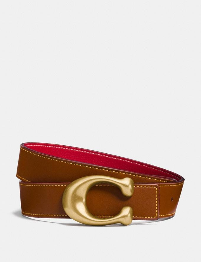 Coach Sculpted Signature Reversible Belt 1941 Saddle/1941 Red/Brass