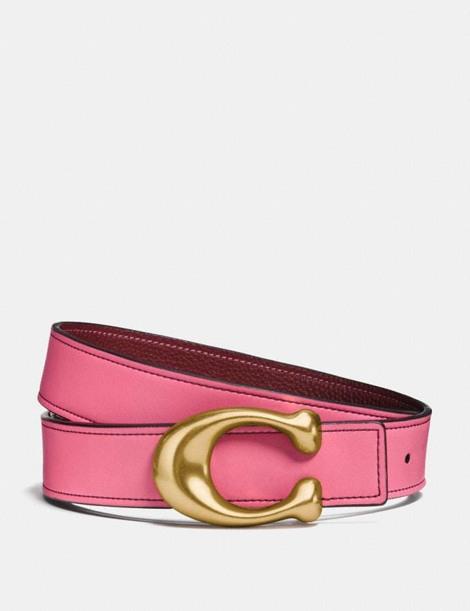 Coach Sculpted Signature Reversible Belt Bright Pink/Wine/Brass