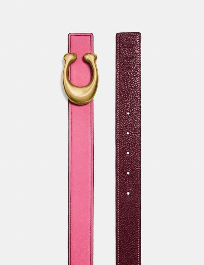 Coach Sculpted Signature Reversible Belt Bright Pink/Wine/Brass  Alternate View 1