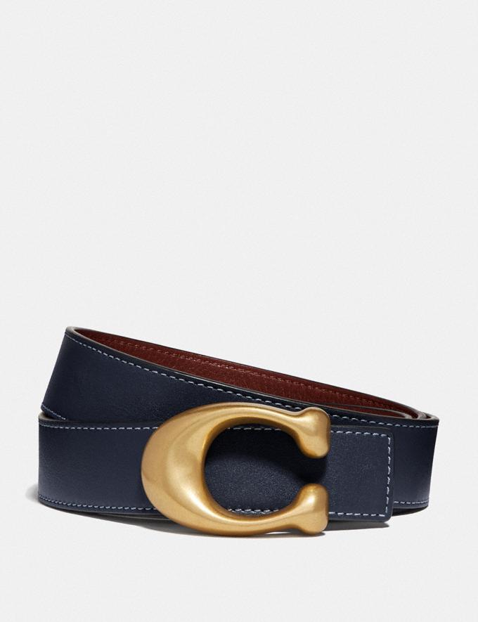Coach Sculpted Signature Reversible Belt Midnight Navy/Wine/Brass CYBER MONDAY SALE Women's Sale 30 Percent Off