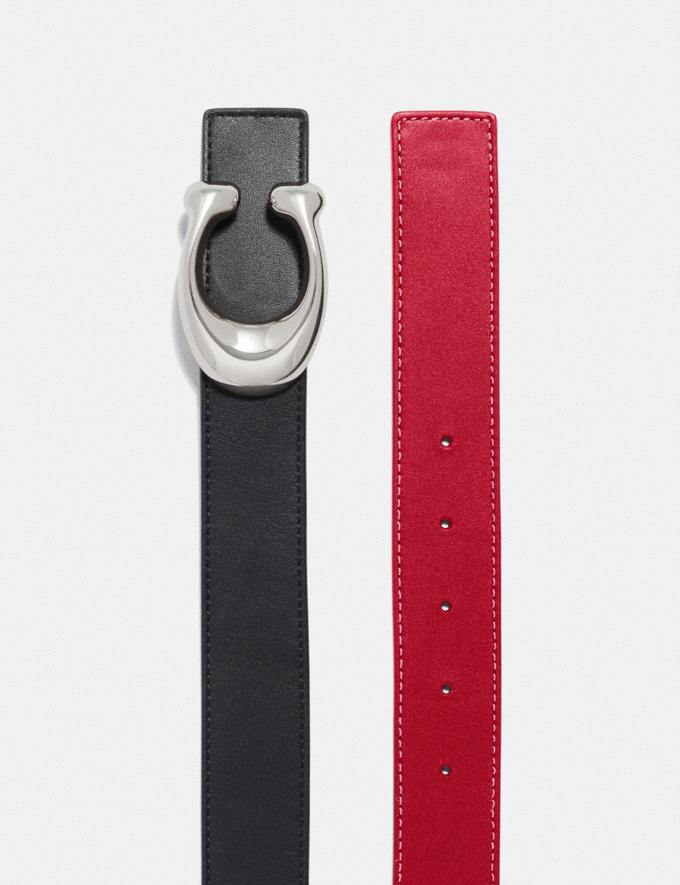 Coach Sculpted Signature Reversible Belt Black/1941 Red/Nickel  Alternate View 1