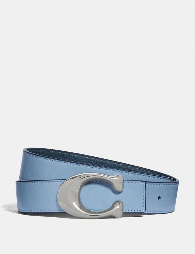 Coach Sculpted Signature Reversible Belt Light Blue/Denim/Nickel