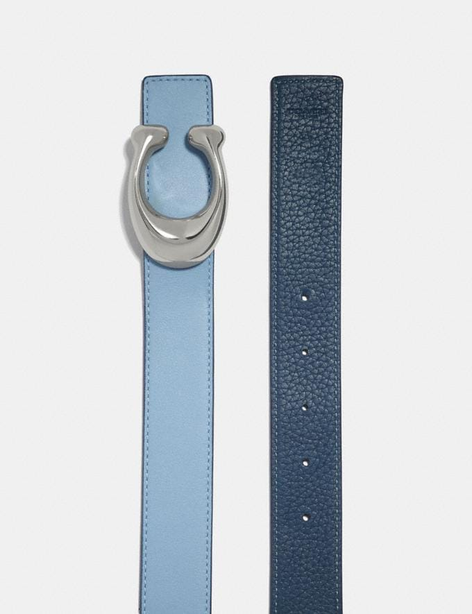Coach Sculpted Signature Reversible Belt Light Blue/Denim/Nickel  Alternate View 1