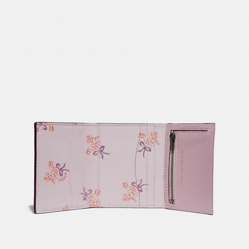Coach Small Trifold Wallet With Floral Bow Print Interior Alternate View 1