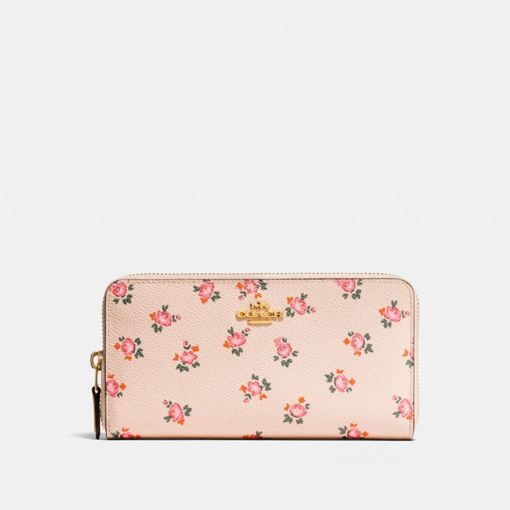 Accordion Zip Wallet With Floral Bloom Print by Coach