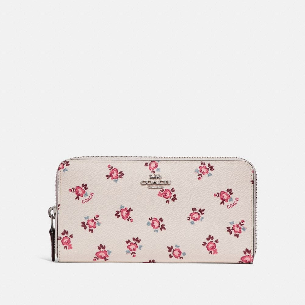 ACCORDION ZIP WALLET WITH FLORAL BLOOM PRINT