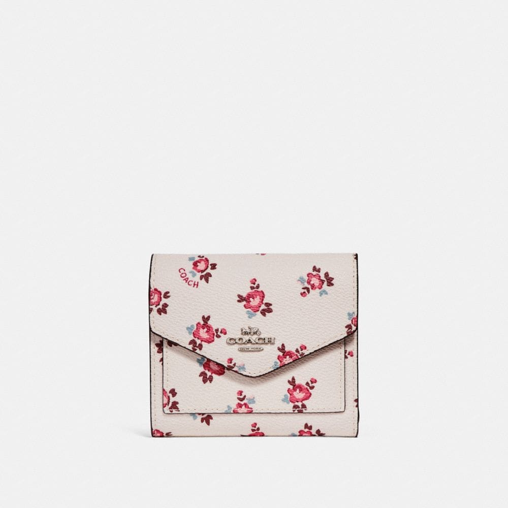 Coach Small Wallet With Floral Bloom Print In Chalk Floral Bloom